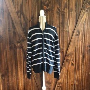 Stylish zip up striped sweater from True Rocks